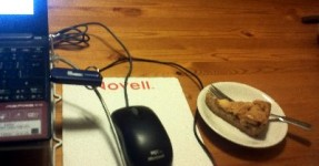 night writing ... a netbook, a mouse and Oma's apple tarte