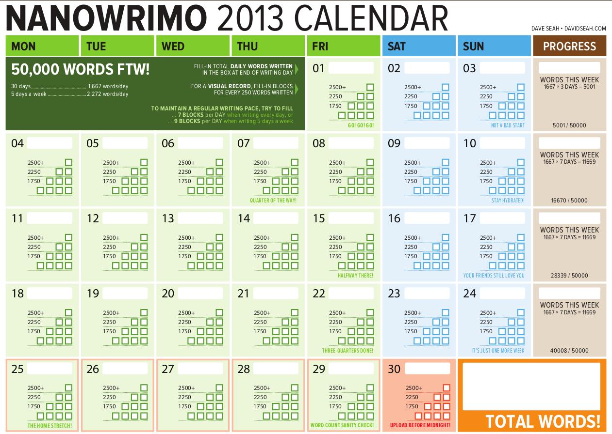 NaNoWriMo 2013 Calendar by Dave Seah