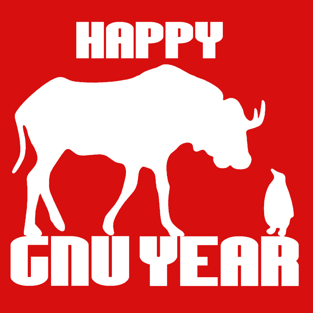 Happy GNU year stencil Red