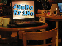 NaNoWriMo write-in - Computer on table